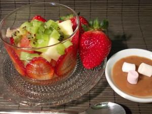 Salade de fruits sauce Bounty