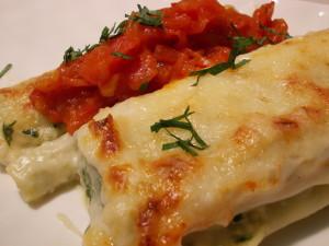 Cannelloni au brocciu et concassé de tomates